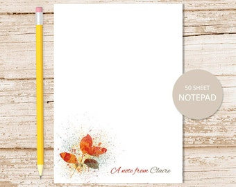 personalized notepad, note pad . autumn leaf notepad . fall leaves splatters . abstract art . personalized stationery . stationary gift