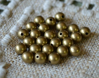 100pcs 5mm Memory Metal Beads Antiqued Gold Plated Bead End Seamless Round Half-Drilled