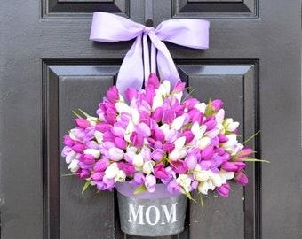 SPRING WREATH SALE Mom Monogram Spring Tulip Wreath- Tulip Door Bucket Wreath Alternative- Tulip Spring Wreath- Gift for Mom- Mother's Day G