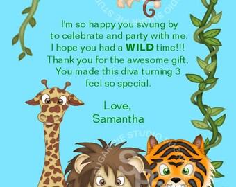 Jungle Safari Zoo Animals  or ANY THEME Birthday thank you Custom Personalized card  Digital File, diy Printable File