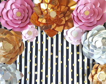 Gold Silver Pink Giant Paper Flowers, Large Paper Flowers, Wedding Backdrop, Baby Shower Decor, Bridal Shower Backdrop, Sweet 16 Decor