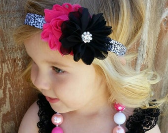 Baby headband,  Hot pink and Black, damask headband, toddler headband , shabby chic, shabby headband, baby hair bow