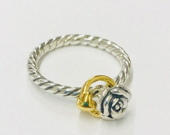 Sterling Silver Twisted Rose and Heart Ring