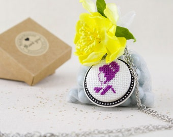 Lady Silhouette Cross Stitch Stainless Steel Necklace