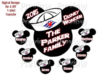 Printable Disney Cruise Family T-Shirt Transfer Design or Clip Art or Family Cruise Door Magnet - Personalized Matching Family Shirts