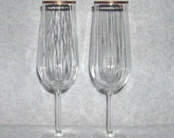 Bohemian Crystal Glass Import Champagne Flute Optic Romy Pattern Gold Rim Set of 2