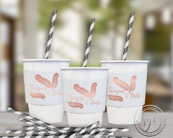 Banana Leaf Tropical Party | Paper Coffee Cup Customizable Sleeves |  social graces and co.