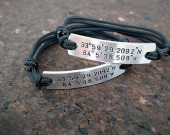 Couples matching custom coordinates bracelet set, GPS Bracelet,Set of two ,customized, 2 matching bracelets, Couples set, Long Distance, GPS