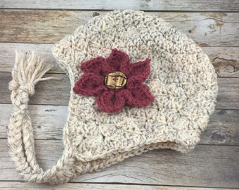 Ready to Ship Wheat Shabby Shell Earflap Hat with dark pink flower-Size 12 to 24 months