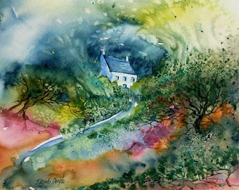 "SALE - Irish Landscape Art "" In the Eye of the Storm""  Watercolour painting -original - Ireland"