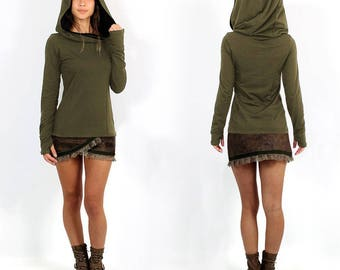 SWEATER, long sleeves, large hooded,thunlb holes, for Women, made of cotton, Streetwear style, Urban, Roots, Psywear, Boho, Bohemian, Gypsy