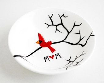 Christmas Gift for Her, Ring Dish, Jewelry Dish - Personalized Cardinal Dish, Cardinals, Jewelry Dish, FREE SHIPPING