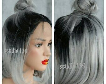 Gray ombre lace front bob cut wig can be styed many different ways