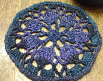 Hand Crocheted Teapot Trivet or Rustic Doily in Indigo, Purple, and Blue