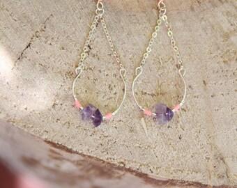 Earrings drops PAEA / Amethyst & plated silver