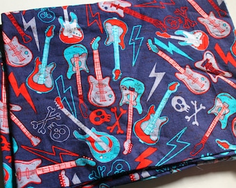 Destash Fabric, Skulls and Crossbones Electric Guitars and Lightning Bolts