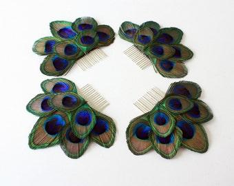 Peacock bridesmaid combs - Set of 4 - Daring peacock feather hair comb
