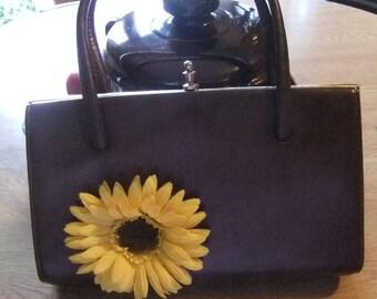 brown kelly handbag with sunflower trim 1950s