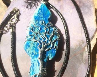Blue Jasper Tree of Life pendant Stone necklace on black cord