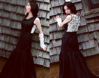 Duality Dress. Black cotton mermaid gown with hand printed back panel. Size small.