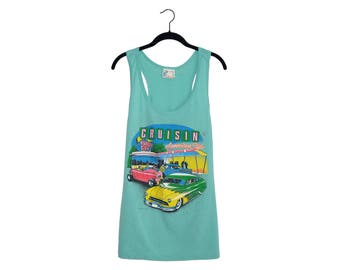 Vintage 80's Cruisin' American Style Burger City Turquoise 50/50 Poly-Cotton Blend Tank Top, Made in USA - XL