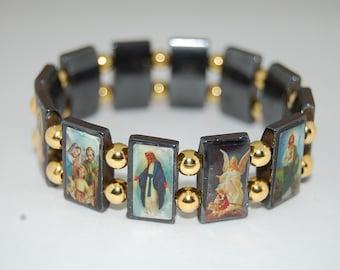 Saints Bracelet,Catholic Christian Bracelet,Magnetic Hematite Beads Bracelet,Jesus,Mary,Angels,Saints,Man,Woman,Stretch,Prayer Bracelet,Gift