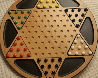 """18"""" wood chinese checkers"""