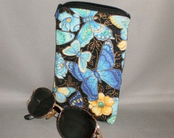 Butterfly - Eyeglass or Sunglasses Case - Padded Zippered Pouch - Turquoise - Blue - Yellow