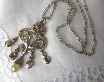VENTE des années 1920 Diamond Drop collier ancien, pendentif diamant, collier diamant Edwardian Art déco, bijoux Vintage, collier de perles, bijoux anciens