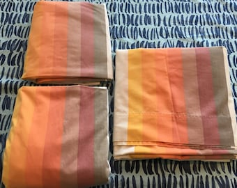 RARE Vintage Wamsutta Ultracale 1970's Orange and Brown Rainbow Two Twin Fitted Sheets and one Flat Sheet-  1970s bedding