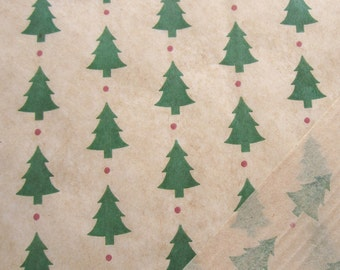 Tissue Paper, 12 Sheets, Printed Tissue Paper, Holiday Tissue Paper, Christmas Trees Print on Kraft Paper, Gift Wrapping Paper, Gift Tissue