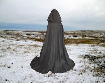 Black Wool Cloak Cape Halloween Costume Renaissance Wedding Harry Potter LOTR Druid Elf Elven