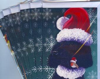 6 x black Poodle robin holiday Christmas greeting cards standard dog Santa hat xmas photo snowflakes from a Susan Alison watercolor painting