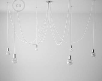 Octopus pendant lamp with multiple arms and flexible white textile cable-4 colors of sockets E27 and ceiling rose with choice-easy assembly
