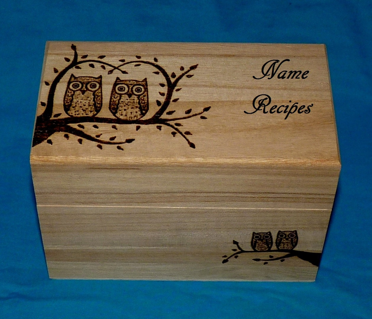 Decorative Recipe Box 2: Decorative Wood Burned Wedding Recipe Card Box Rustic Wooden