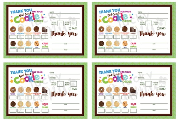 2018 Mini Girl Scout Cookie Order Form With Care To Share