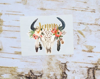 Tribal Skull with Feathers Monogram Decal, Steer Skull, Cow Skull, Bull Skull, Tumbler Decal, Steer Feather Decal