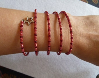Spiral bracelet in Bordaux-red