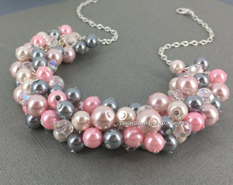Grey and Pink Necklace Cluster Pearl Necklace Bridesmaid Jewelry Maid of Honor Gift Gray and Pink Wedding Custom Made Jewelry