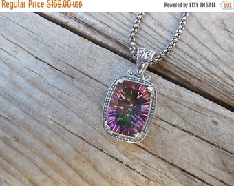 ON SALE Mystic topaz necklace handmade in sterling silver