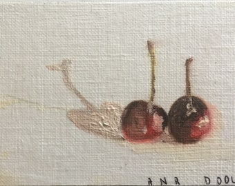 Cherries still life original oil painting 3.5x2.5 painting on cradled wood panel ready to hang small artwork kitchen decor