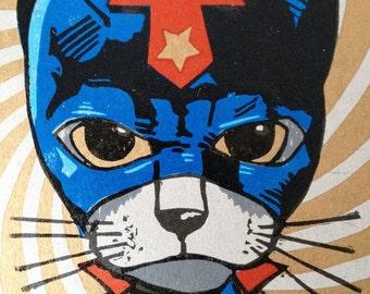 Chat linogravure Super Cat