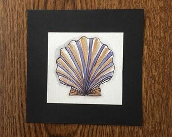 "Tiny Shell Original Watercolor Painting, Small and Simple Watercolor Painting, Tiny Watercolor, 4.5"" x 4.5"""