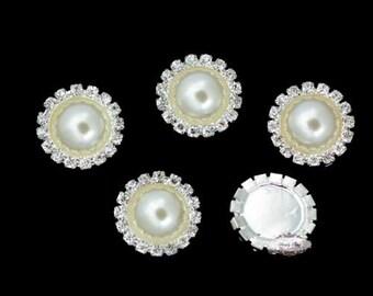 Pearl Rhinestone Button - 10pc Rhinestone Flatback Button - Rhinestone Button -  Flatback Metal Button