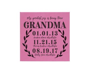 Greatest Joy, Grandma Sign, Leather Sign, Leather Gift, Grandparents Day, Mother's Day, Mothers Day, Gift for Grandma  --27858-LSN1-031