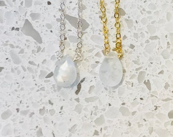 market necklace moonstone gold briolette necklaces il silver or etsy
