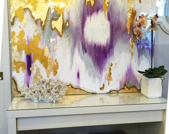 """Sold!! Acrylic Abstract Art Large Canvas Painting Gray, Purple, Gold Ikat Ombre Glitter with Glass and Resin Coat 36"""" x 48"""" real gold leaf"""