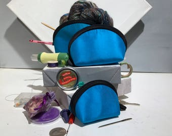 Lantern Moon Clamshell Cases, Set of three nesting, mini bags, blue notion bag, knitting sewing gift under 25, Stocking Stuffer, craft gift