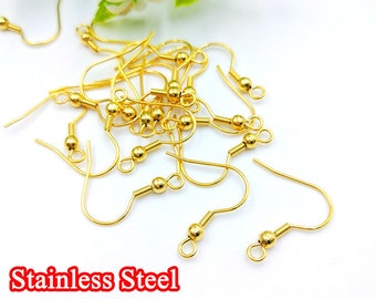 10pcs Gold Ear Wire Hooks, Ball and Coil Earring Hooks, Earring Findings, 316L Stainless Steel Hypo Allergenic French Hooks, Fish Hooks