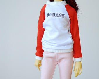 Relaxed fit BADASS baseball style long top - Slim Mini MSD BJD clothes